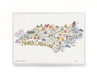 """North Carolina Art, 9""""x12"""" North Carolina Map, North Carolina Print, Unframed, Print Signed by Artist, Printed on watercolor paper"""