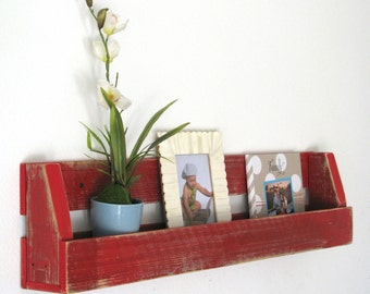 Red Distressed Shelf for books, toys, magazines, decor and more!