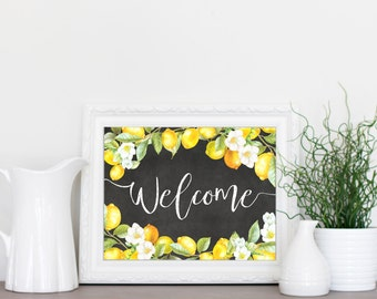On SALE, Lemon Welcome sign, Printable Sign, kitchen sign with lemons, yellow