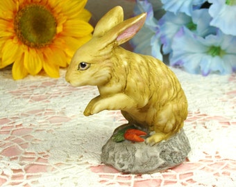 Adorable Vintage Bunny Rabbit Figurine with Carrots  in Porcelain Hand Painted and from Korea