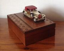 Wooden Cigarette Box with Car, Vintage Tobcciana 1960s