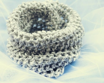 Handmade Knitted Children's Scarf, Spring Accessories, Gray and White Scarf