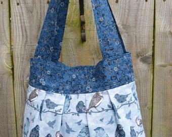 Blue Bird print tote bag