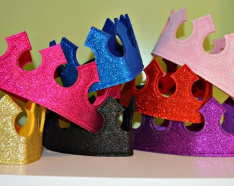Glitter Felt CROWN. Birthday crown. Princess Party Favor. Princess Crown. Prince Crown. Prince Party. King Crown. Queen Crown. Party Favor.
