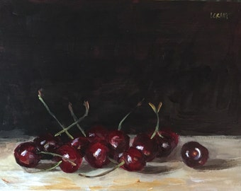 "Original Acrylic Still Life Painting 6x8 ""Cherries"""