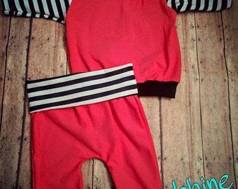 Newborn pants and shirt set. Miniloons envelope shirt