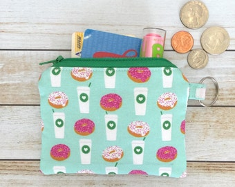 Coffee and Donuts In Mint Coin Purse Zipper Coin Pouch Keychain Wallet