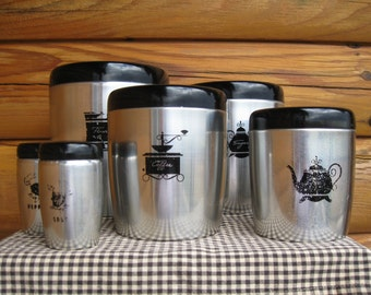 West Bend Metal Kitchen Canisters with Salt and Pepper