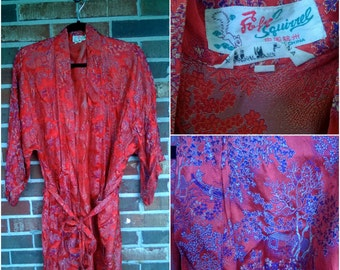 Red Embroidered Kimono Robe, Made in China, L