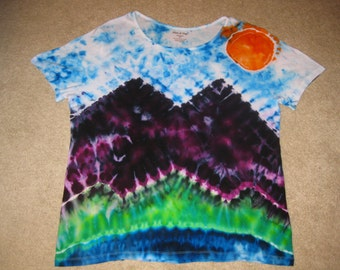 tie dye landscape shirt wmns 2XL
