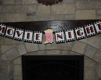 Movie night banner.  Cinema birthday party banner. Movie party decorations. Movie night party. Ready to ship.