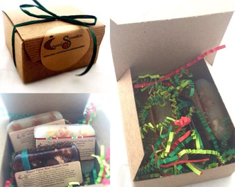 Holiday Soap Gift Set / Gift Wrapped Soap / 3 oz Soap Set / VEGAN Soap, Organic Soap / Vegan Gift Set / Chocolate, Candy Cane, Butterscotch