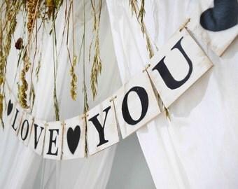 Wooden wedding banner, Rustic wedding sign, Love you wedding decor, wedding sign, wooden custom banner, wedding garland