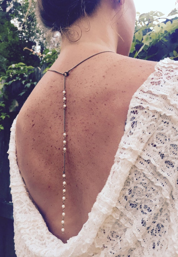 Pearl Bridal Back-Lace / Bridal Necklace / Wedding Jewelry