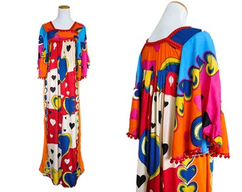 Vintage Hearts and Moons Ethnic Caftan Dress
