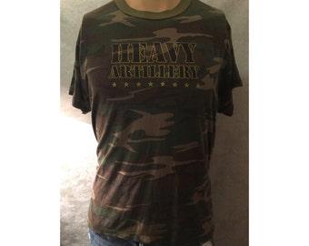 Vintage 80s Camouflage Heavy Artillery T-shirt Sz. L
