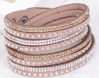Leather Wrap Wristband Cuff Bracelet With Crystals