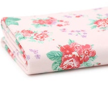 "Flowers French Terry Knit, Stretchy Fabric,Cotton French Terry Knit, 65"" Width  Fabric - Pastel Pink"