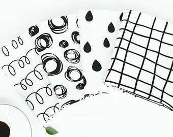 Simple Pattern Cotton Fabric by Yard, Raindrop,Coil Springs,Circles,Square - 4 Patterns Selection