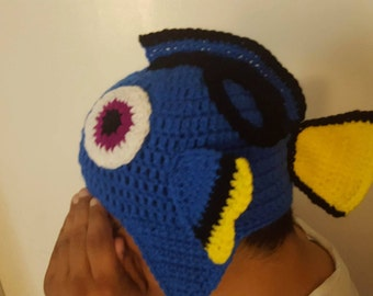 Finding Dory crochet hat with ear flaps