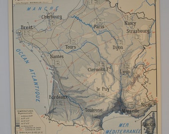 Old map of geography double sided - FRANCE hydrography / Temperature - school poster of French school of the 1950/60s