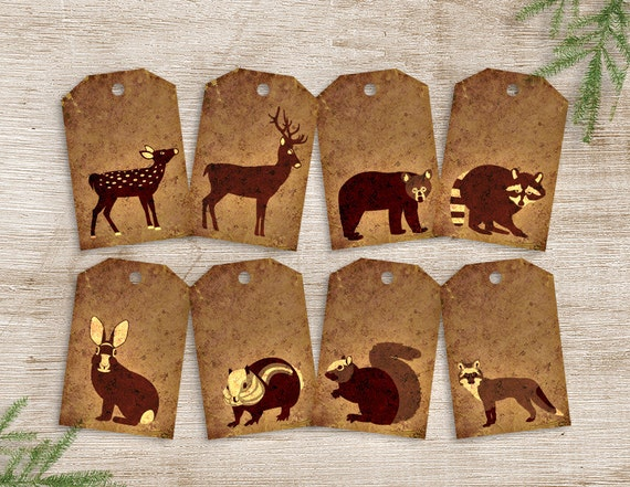 woodland animal favor tags printable forest animal birthday
