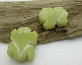 Carved Jade Frog Bead, Lime Green Jade Frog, Afghan Jade Frog Bead, Hand Carved Jade Bead, 22x12mm (2)