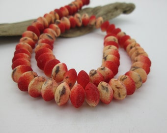 Apple Coral Limestone Rough Saucer Beads, 10mm (7 1/2 inches loose or 31 beads)