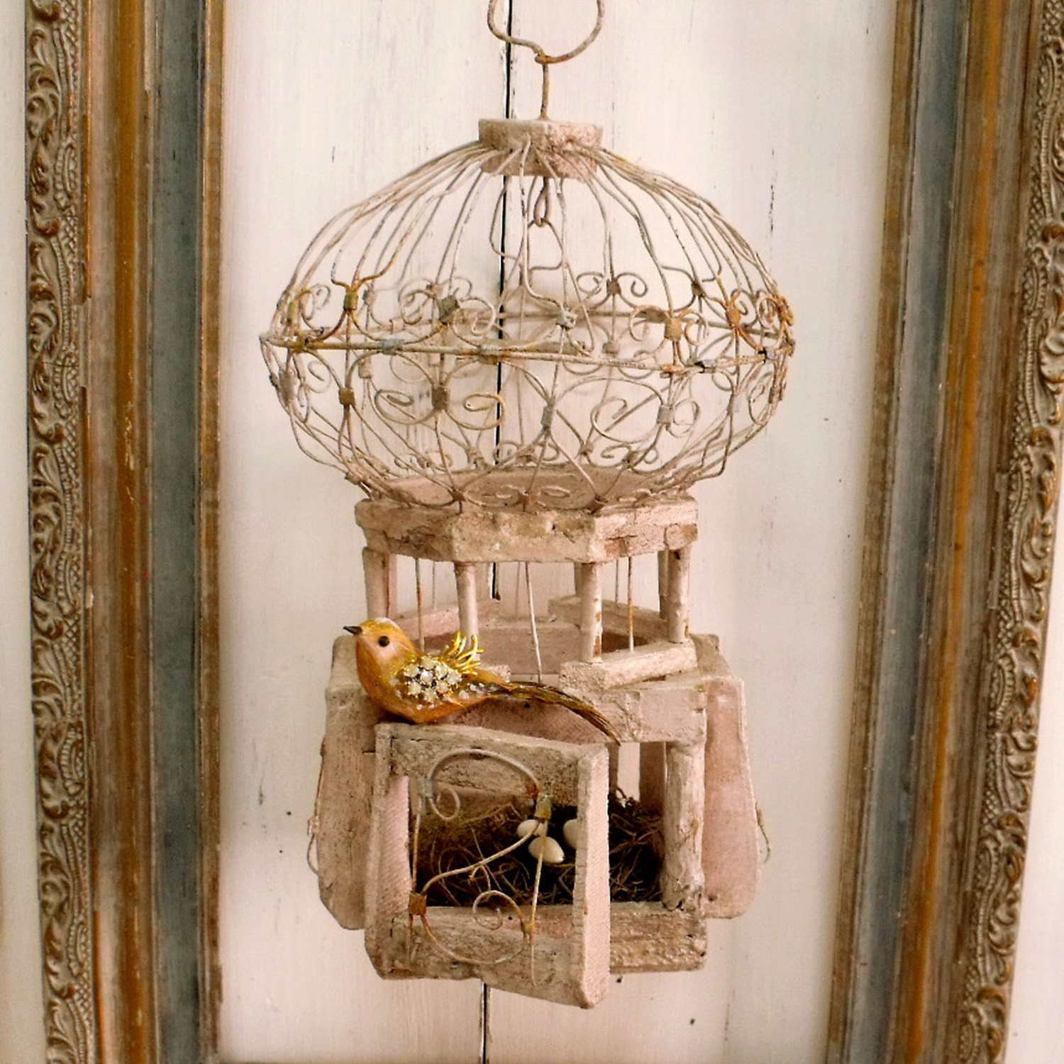 Vintage rusted bird cage nest decor by helenaaleixodecor for The nest home decor