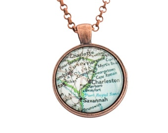 Charleston Map Necklace 25mm in Copper