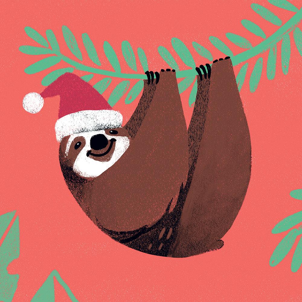 postkarte weihnachten faultier mit weihnachtsm tze frohe. Black Bedroom Furniture Sets. Home Design Ideas