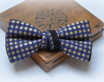 Gold Bow Tie. Men's Bow Tie. Blue Gold Checkered Bow Tie. Pre tied Bow Tie. Freestyle Bow Tie. Festive Bow Tie