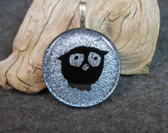 OWL, Dichroic Glass Pendant Necklace