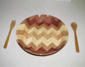 Wooden Herring bone design bowl