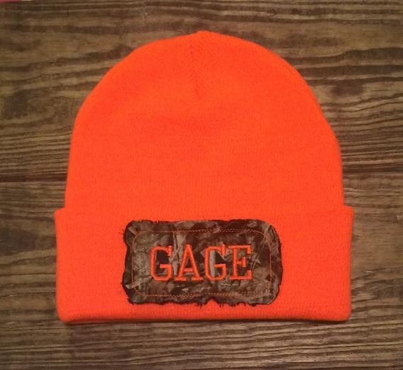 items similar to personalized boys blaze orange camo hunting beanie hat cap toboggan raggy patch