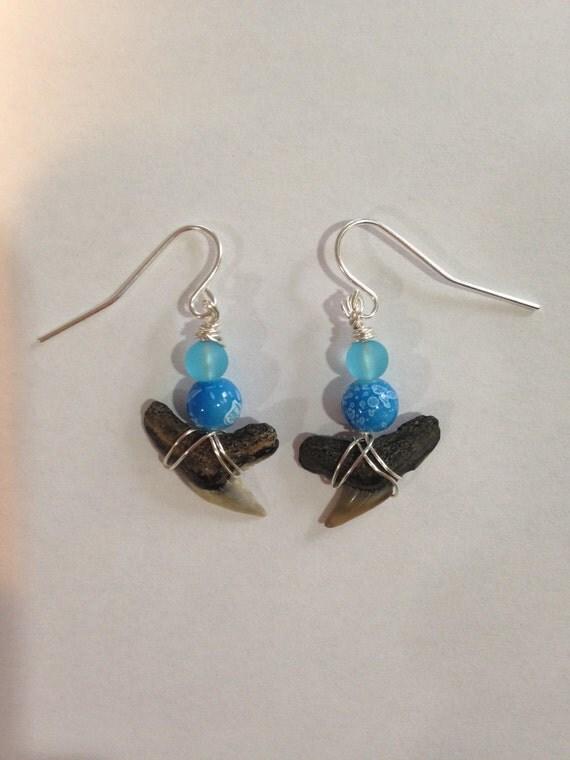 shark tooth earrings blue dangle earrings