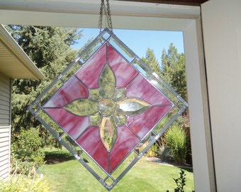 Stained Glass square panel with clear glass bevels in geometric design.