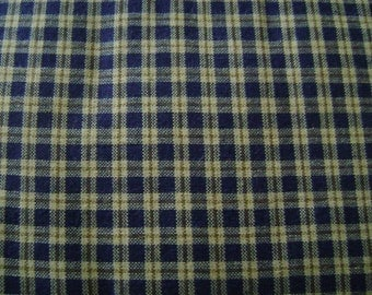 Small Navy and Tan Check Cotton Fabric by the yard