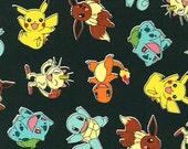 Black Pokemon Characters - 1 yard - Robert Kaufman