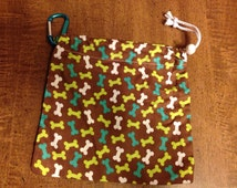 Dog Bone Printed Leash/Accessory Bag
