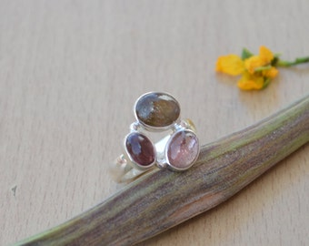 Natural Pink Tourmaline Gemstone Ring, 925 Sterling Silver Ring Jewelry, Bezel Set Designer Ring, Unique Gift Jewelry Ring Size 8