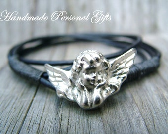 Bracelet leather, Angel, guardian angel, wrap bracelet, black
