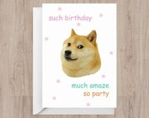 Funny Birthday Card   Doge Meme   Much Amaze