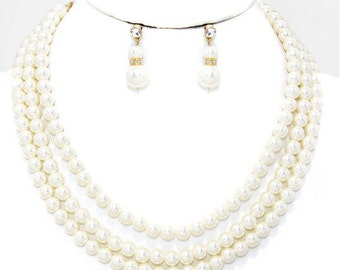 Pearls necklace and earrings set, multi strands, bridesmaids gift, bridal jewelry set, handmade gift idea, Christmas gift.