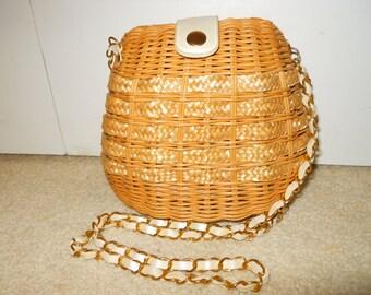 vintage wicker cross body bag