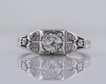 Antique Engagement Ring Art Deco .32ct Transitional Cut Diamond in 18k White Gold