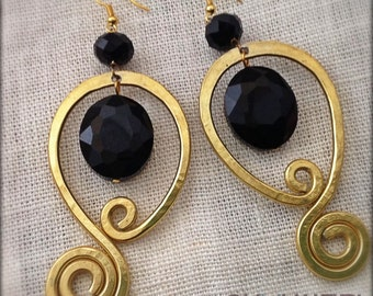 Gold Earrings with black stones