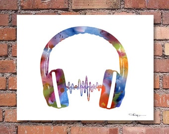 Headphones Art Print - Abstract Watercolor Painting - Wall Decor