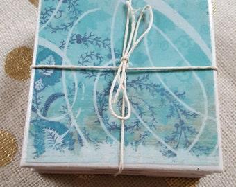 Handmade Tile Coasters - Blue Abstract Print