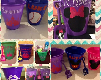 Personalized 9 inch Sand Buckets- Great for a day on the beach or fun in the sandbox